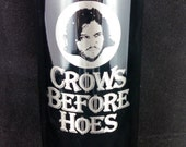 """Game of Thrones travel mug - Jon Snow """"Crow's Before Hoes"""" - engraved"""