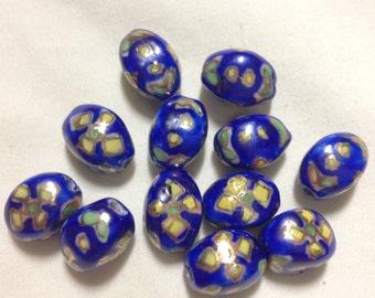 12 Blue/Yellow Porcelain Beads