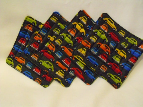 """quilted padded cup holder, quilted coasters, car cup stands, 4.5"""" square, car mug rugs"""