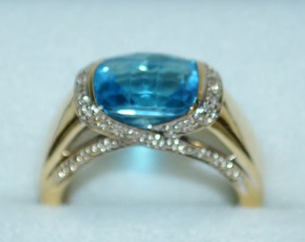Ring 14k Gold Aquamarine & Diamonds Aqua Marine Stone Gold Ring With Criss Cross Diamonds