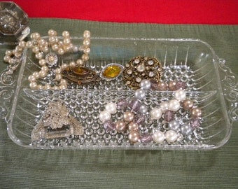 Two Sided RelishTray, Anchor Hocking Hobnail,  jewelry dish, bits and bobs holder, etc