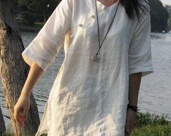 women Linen top women shirt women blouse Maternity blouse Vintage top Casual shirt  Stand collar Top(T10121)