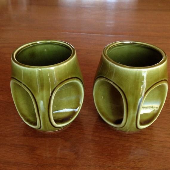 Vintage Japan Ceramic Green Unique Mugs -Set of 2 - Japanese pottery    Japanese Ceramic Mugs