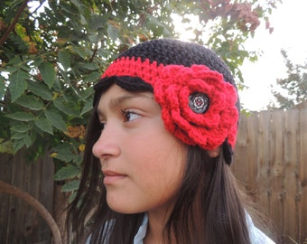 Crochet Scalloped Flower Beenie Cap