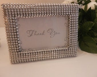 Wedding, Silver rhinestone picture frame, Bling wedding picture frame, wedding decorations