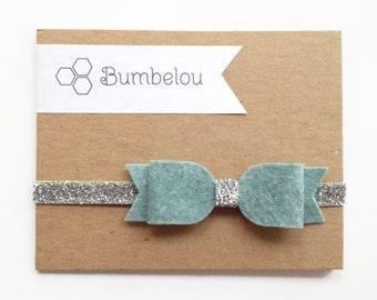 Large Bow Headband - Swan Blue and Silver