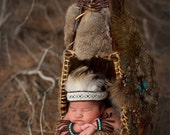Native American Insipered Newborn Headpiece and Arm/Leg Cuffs Photography Prop