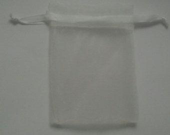 50 White Organza Bags 4x 6 favor bags wedding packaging beads, herbs