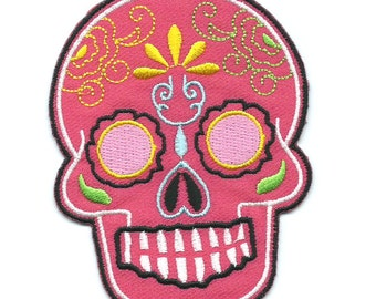 Pink Mexican Sugar Skull Iron On Patch Embroidered Applique