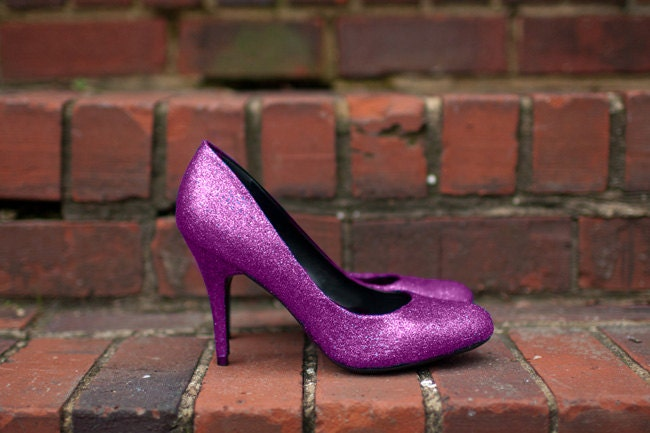 Pink High Heels For Wedding: Wedding Shoes Hot Pink Glitter Shoes Bridal Shoes Pink Pink