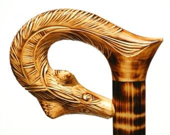 Fox walking cane, FOX wooden walking stick, walking stick, wooden walking cane, carved cane, fox handle carved cane, hand carved fox cane