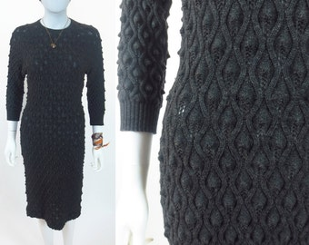 60s Mad Men secretary 3D cable knit dress