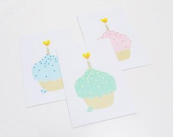 Cupcake greeting card, Birthday card - Set of 3