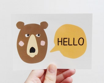 Brown bear postcard, Cute greeting card