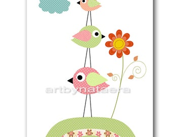 Bird Baby Nursery Wall Art Kids Room Decor INSTANT DOWNLOAD Baby Room Baby Girl Nursery Decor Download Digital  Art 8x10 11X14 Pink Green