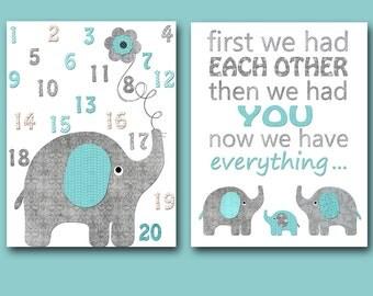 Digital Print Kids Room Decor Elephant Nursery Baby Boy Nursery Art Instant Download Digital Download Digital Art set of 2 8X10 11X14
