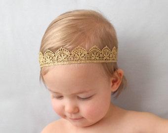 The Princess Anna Crown, Lace Princess Crown, Baby Crown, Full-Head Crown, Gold Crown, Newborn Crown, Forehead Crown, Birthday Crown