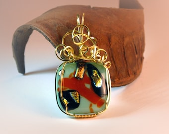Mint green and orange dichroic fused glass cabochon pendant