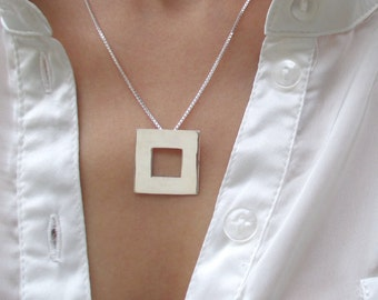 Silver Square Necklace, Square Necklace Silver, Square Necklace, Silver Geometric Necklace, Geometric Necklace, Geometric Necklace Silver