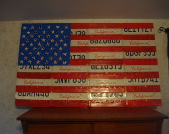 License Plate American Flag!!  Made With Genuine License Plates!!