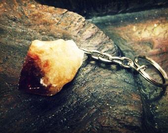 Two crystal point Key Chains- Amethyst- Citrine- Crystal keychain-Chakra-Raw Healing Stone
