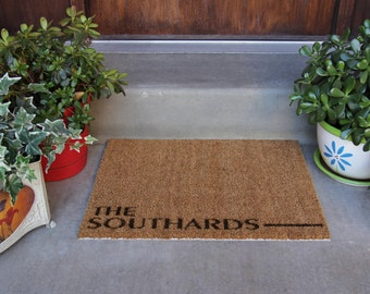 """Personalized Door Mat Regular Size- """"Southard"""" Style"""