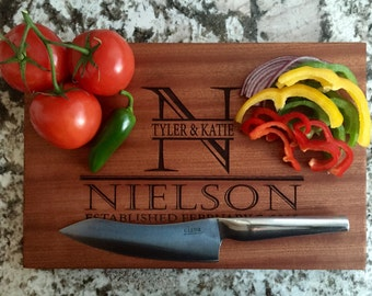 Personalized Cutting Board Mahogany 10x15 - Nielson Style