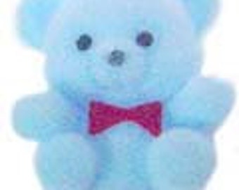12 Flocked Mini Teddy Bears Baby Blue Shower Favor Decorations