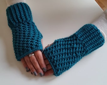 Teal Fingerless Mittens, Teal Fingerless Gloves, Teal Mittens, Crochet Fingerless Mittens, Crochet Fingerless Gloves, Teal Wrist Warmers