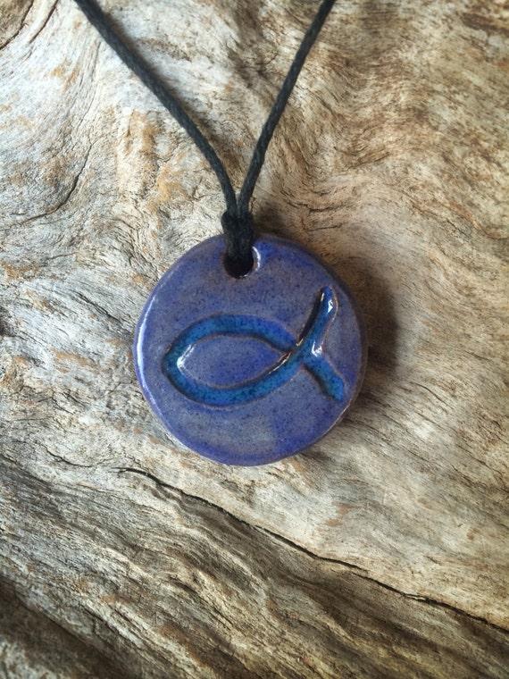 Terracotta Neck Pendant Diffuser ~ Essential oil terra cotta diffuser ichthus necklace
