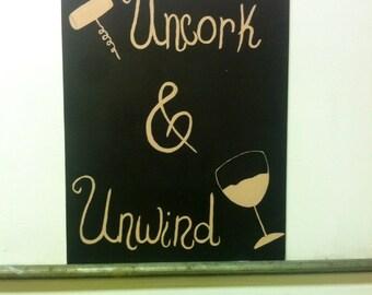 "Acrylic canvas board ""Uncork & Unwind"""