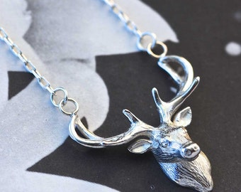 Stag Necklace, deer necklace, silver necklace