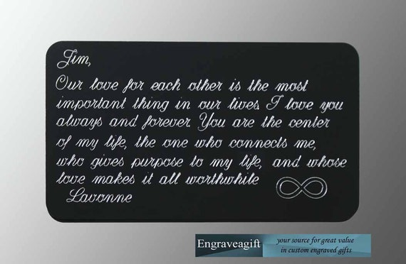 Wedding Gift Engraved Message : ... Wedding Gift, Engraved Wallet Card, Personalized, Wallet Message Card