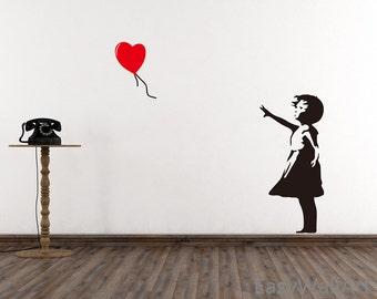 Banksy Wall Decal -  Girl With Balloon Heart Wall Decal, Banksy Decal - Banksy Vinyl Wall Art  Stickers #S17