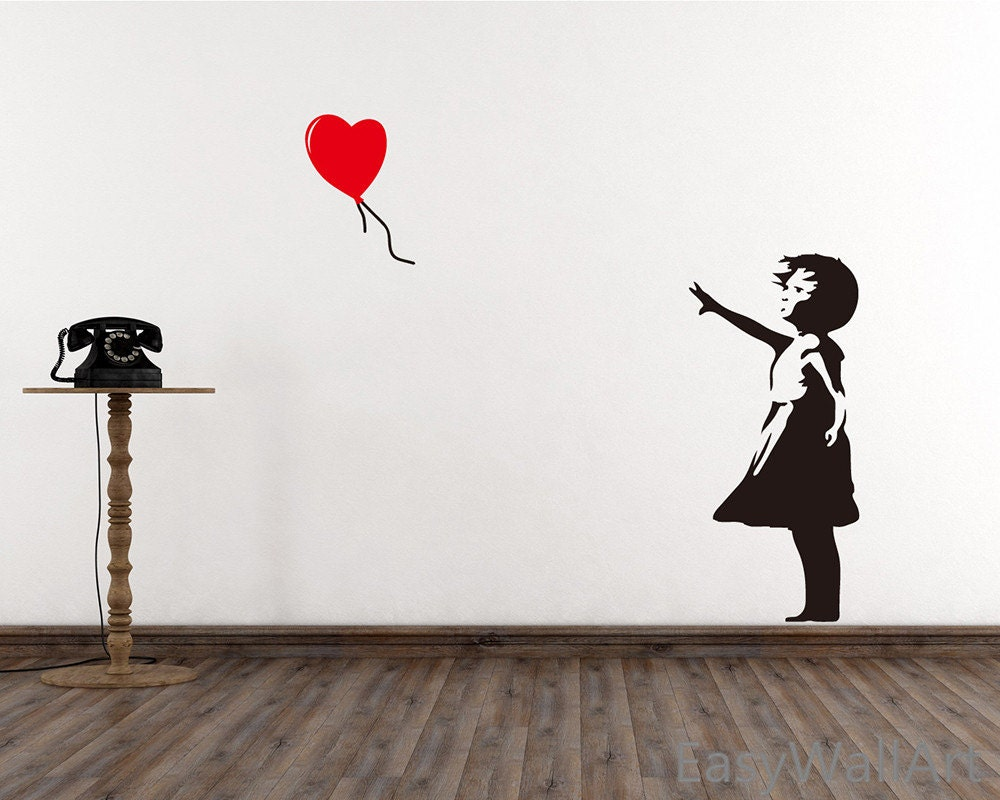 banksy wall decal girl with balloon heart wall decal. Black Bedroom Furniture Sets. Home Design Ideas
