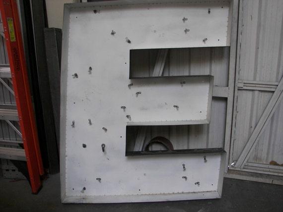 giant salvaged letters extra large metal letter e. Black Bedroom Furniture Sets. Home Design Ideas
