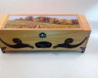 Wooden wine box, wine box ceremony, fall vineyard painting, wine box, gift box, engraved box, custom wine box, personalized box