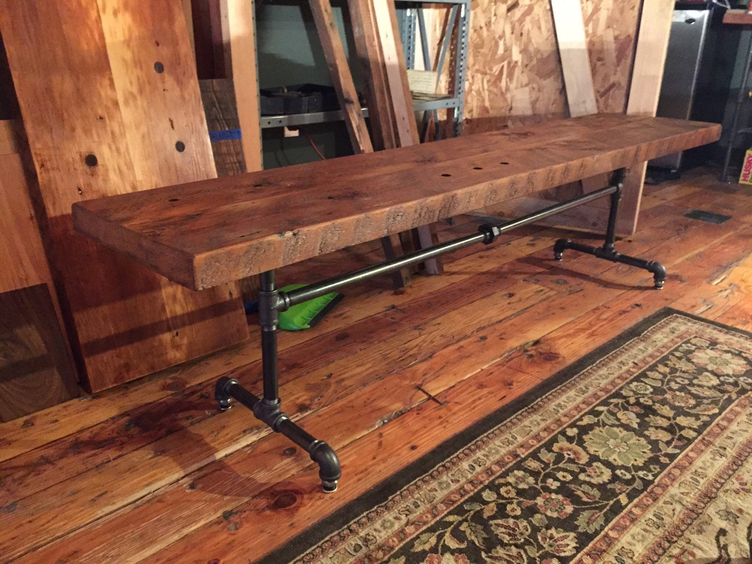 Reclaimed wood black pipe bench industrial bench wood and for Reclaimed wood portland oregon