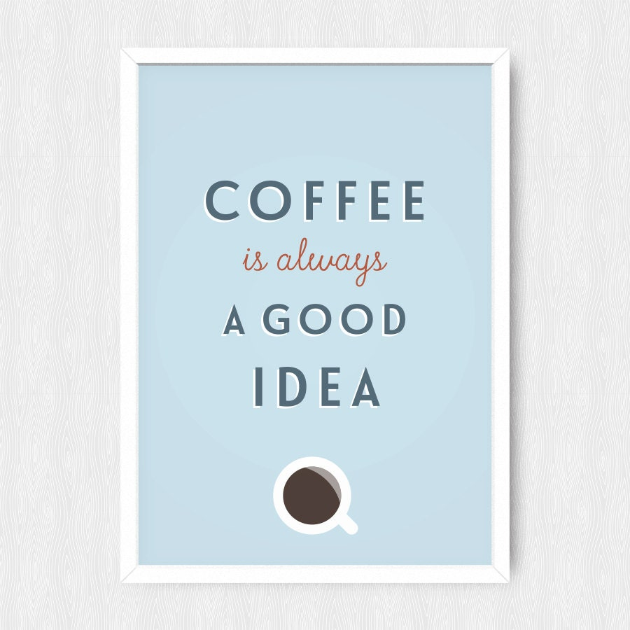 Coffee kitchen print wall print wall decor colorful quote for Colorful kitchen wall art