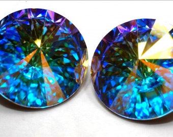 2 pc/18 mm Swarovski Elements Rivoli (1122) Crystal AB
