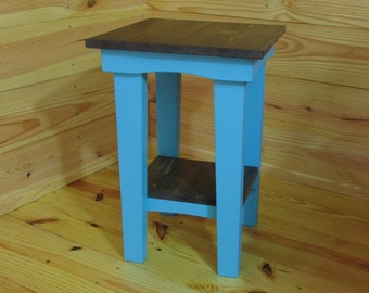 Blue Side Table, Rustic, Night Stand, End Table, Bedside Table, Patio Table, Reading Table, Farmhouse, Handmade