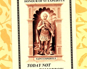 St EXPEDITUS **NEW** ENGLISH language folding prayer leaflet with Litany/Prayers/Brief Life of Powerful Saint of Desperate & Pressing Needs