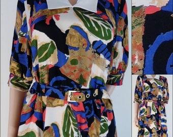 80s French summer tea secretary dress cute smart midi summer minimalist dress size medium