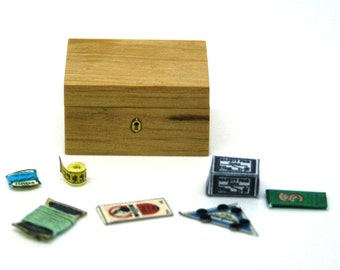 Pine Sewing Box Filled With Sewing Notions 12th scale