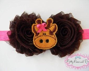 Giraffe Headband, Pink and Brown Headband, Flower Headband, Baby Headband, Newborn Headband, Shabby Flower Headband