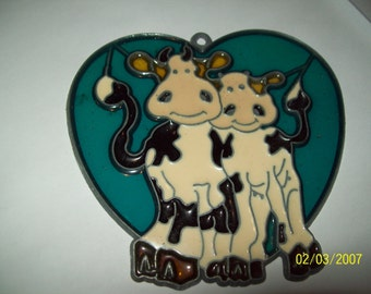"Vintage Sun Catcher 4.25"" Double Cows in Blue Heart"