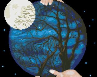 Eva's Designs: Night of the Big Moon - PDF counted cross stitch pattern