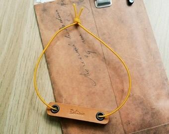 Handmade Leather charm closure elastic,  Pelledori accessories