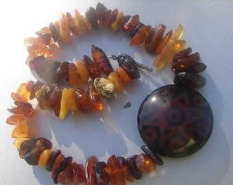 Amber Bead Necklace with Glass Pendant 272a