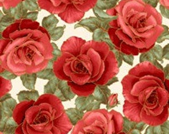 Be Mine - Red Roses on Ecru Fabric